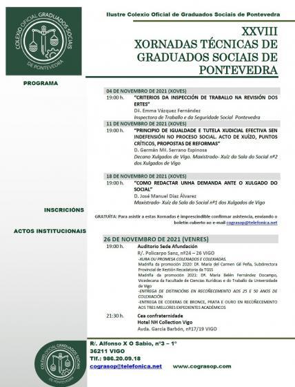 XXVIII XORNADAS TÉCNICAS DE GRADUADOS SOCIAIS DE PONTEVEDRA